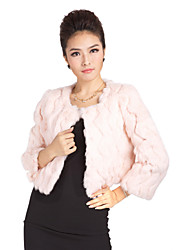 Lovely Long Sleeve Collarless Evening/Casual Rabbit Fur Jacket(More Colors)