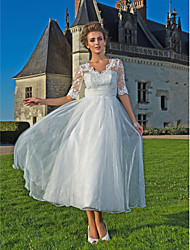 A-line/Princess Wedding Dress - Ivory Ankle-length V-neck Lace/Organza