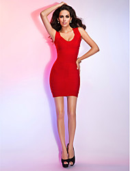 TS Couture Cocktail Party / Holiday Dress - Ruby Petite Sheath/Column V-neck Short/Mini Rayon