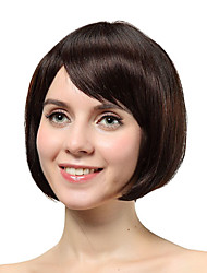 Capless Short Brown Straight 100% Human Hair Wigs