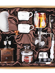 Coffee Series Boxed Gift including Seal & Siphon Pot, Grinder, Cups