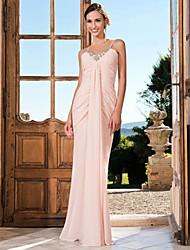 Fiesta formal/Fiesta de baile/Baile Militar Vestido - Rosa Perla Corte Sirena Hasta el Suelo - Escote en V/Tirantes Espaguetis GasaTallas