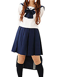 Cute Girl Blue and White Polyester School Uniform (2 Pieces)