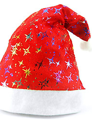 Glitter Stars Red Fabric Christmas Hat