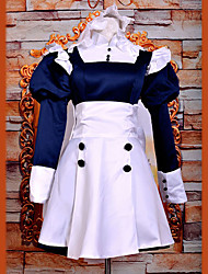 Inspired by Black Butler Mey-Rin Anime Cosplay Costumes Cosplay Suits / Dresses Patchwork White Long Sleeve Dress / Headband