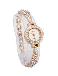 Women's Alloy Quartz Movement Glass Round Shape with Rhinestone Dress Watch