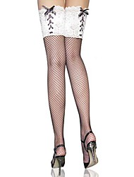Black Spandex and Nylon Lace Punk Lolita Over-knee Socks