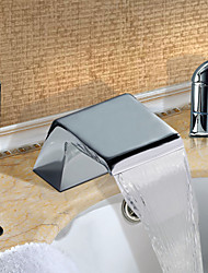Contemporary Roman Tub Waterfall Widespread with  Ceramic Valve Two Handles Three Holes for  Chrome , Bathtub Faucet
