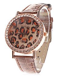 Mujer Reloj de Moda Cuarzo Piel Banda Destello Leopardo Negro Blanco Azul Rojo Marrón Morado Rose