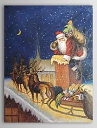 natale pittura Babbo Natale consegne vacanza regalo dipinto a olio su tela pronto da appendere
