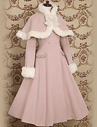 [XmasSale]Manches longues rose Princesse Lolita Robe en velours