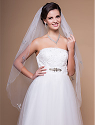 Two-tier Fingertip Wedding Veil With Beaded Edge