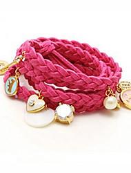 Women's Heart Pearl Layered Pendants Bracelet