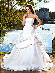 Lanting Bride® Ball Gown Petite / Plus Sizes Wedding Dress - Classic & Timeless / Elegant & Luxurious Chapel Train Strapless Satin with