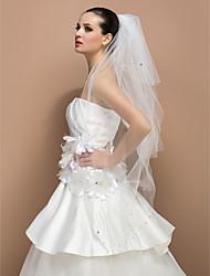 Three-tier Fingertip Cut Edge Wedding Veil With Rhinestone