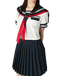 Sexy Girl Ink Blue and White Polyester School Uniform (2 Pieces)