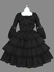 One-Piece/Dress Classic/Traditional Lolita Vintage Inspired Cosplay Lolita Dress Black Vintage Long Sleeve Medium Length Dress For Women
