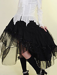 Floor-length Black Cotton Gothic Lolita Skirt