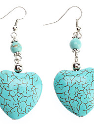 Earring Heart Drop Earrings Jewelry Women Party / Daily Gem / Turquoise Green