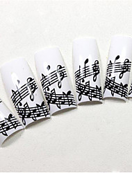 70PCS White French Plastic Nail Art Tips with Musical Notes