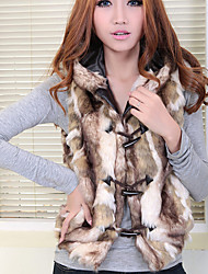 Fur Vest With Fashion In Faux Fur With Sleeveless Hood Collar Vest