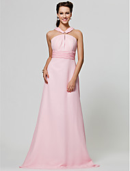 Lanting Bride® Floor-length Chiffon Bridesmaid Dress - A-line / Princess Straps Plus Size / Petite with Draping / Ruching