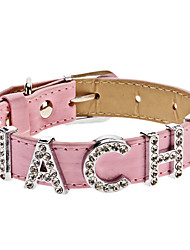 Adjustable Rhinestone Hachi Style Collar for Dogs (Assorted Color,Neck: 15-25cm/5.9-9.8inch)