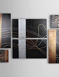 Hand-painted Modern Abstract Oil Painting with Stretched Frame - Set of 6
