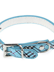 Dog Collar Adjustable/Retractable Plaid/Check Blue Pink Purple PU Leather