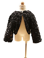 Wedding  Wraps Coats/Jackets Long Sleeve Satin Black Wedding / Party/Evening Beading / Sequin Clasp