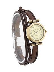 Fashion Women's PU Quartz Movement Glass Round Shape Dress Watch