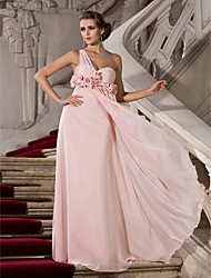 Sheath / Column One Shoulder Sweetheart Floor Length Chiffon Prom Dress with Draping by TS Couture®