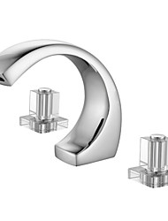 Contemporary Widespread Two Handles Three Holes in Chrome Bathroom Sink Faucet