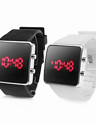 Pair of Sports Silicone Style Red LED Wrist Watch (White and Black)