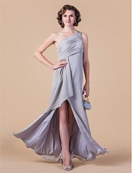 Sheath / Column One Shoulder Floor Length Chiffon Mother of the Bride Dress with Beading Crystal