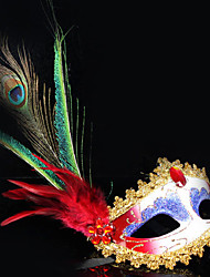 Peacock Feather and Eye Shadow Red PVC Holiday Half-face Mask