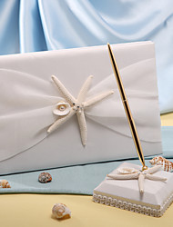 Starfish & Sea Shell Beach Themed Wedding Guest Book and Pen Set Sign In Book