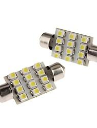 39mm 1W 12x3528 SMD White Festoon LED Bulb for Car Dome/Map/License Plate Light (12V, 2-Pack)