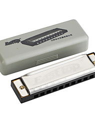 EASSTTOP - (T10-3) Blues Harp with Gray Plastic Box