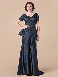 Lanting Bride A-line Plus Size / Petite Mother of the Bride Dress Floor-length Short Sleeve Taffeta with Criss Cross