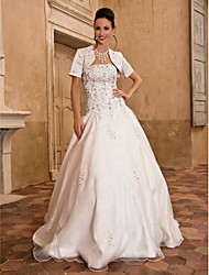 Ball Gown Plus Sizes Wedding Dress - Ivory Floor-length Strapless Satin/Taffeta