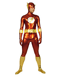 Red And Gold Flash Shiny Metallic Super Hero Zentai Suit