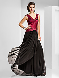 Sheath / Column V-neck Floor Length Tulle Formal Evening Military Ball Dress with Pleats Criss Cross