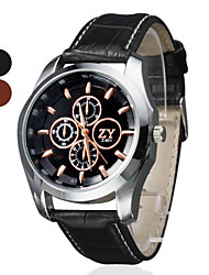 Men's Dress Watch Quartz PU Band Black Brown Brand