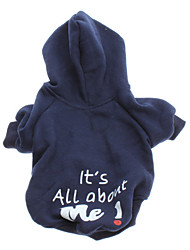 Dog Hoodie Blue Dog Clothes Winter / Spring/Fall Letter & Number Fashion