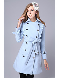 Women's Coat , Casual Wool Blends