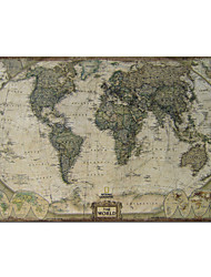 Printed Art Vintage Linen World Map with Stretched Frame