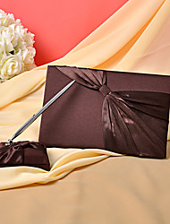 Wedding Guest Book And Pen Set In Chocolate Satin Sign In Book