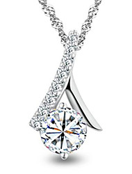 Graceful 925 Sterling Silver Swiss Diamond Necklace