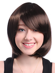 Capless Short Side Bang Brown Wavy High Quality Synthetic Japanese Kanekalon Wigs